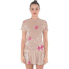 Flower Bird Love Pink Heart Valentine Animals Star Drop Hem Mini Chiffon Dress