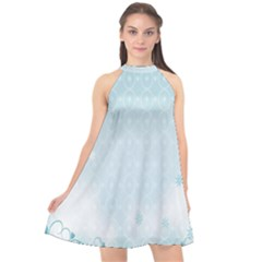 Flower Blue Polka Plaid Sexy Star Love Heart Halter Neckline Chiffon Dress  by Mariart