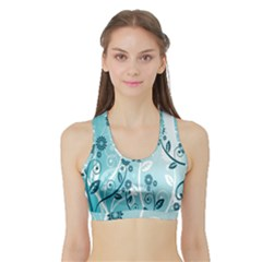 Flower Blue River Star Sunflower Sports Bra With Border by Mariart