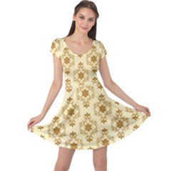 Flower Brown Star Rose Cap Sleeve Dress by Mariart