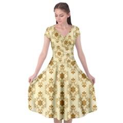 Flower Brown Star Rose Cap Sleeve Wrap Front Dress
