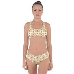 Flower Brown Star Rose Criss Cross Bikini Set by Mariart
