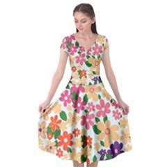 Flower Floral Rainbow Rose Cap Sleeve Wrap Front Dress
