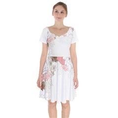 Flower Floral Rose Sunflower Star Sexy Pink Short Sleeve Bardot Dress