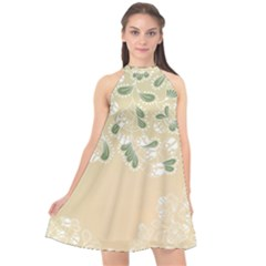 Flower Frame Green Sexy Halter Neckline Chiffon Dress