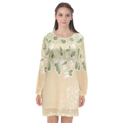 Flower Frame Green Sexy Long Sleeve Chiffon Shift Dress  by Mariart