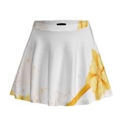Flower Floral Yellow Sunflower Star Leaf Line Mini Flare Skirt