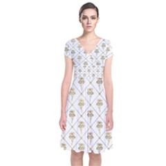 Flower Leaf Gold Short Sleeve Front Wrap Dress by Mariart