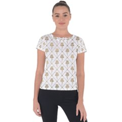 Flower Leaf Gold Short Sleeve Sports Top  by Mariart