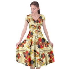 Flower Seed Rainbow Rose Cap Sleeve Wrap Front Dress by Mariart