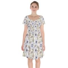 Flower Rose Sunflower Gray Star Short Sleeve Bardot Dress by Mariart