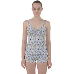 Flower Rose Sunflower Gray Star Tie Front Two Piece Tankini by Mariart