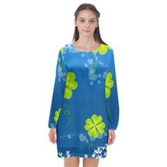 Flower Shamrock Green Blue Sexy Long Sleeve Chiffon Shift Dress  by Mariart