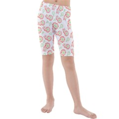 Flower Rose Red Green Sunflower Star Kids  Mid Length Swim Shorts by Mariart