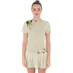 Flower Star Floral Green Camuflage Leaf Frame Drop Hem Mini Chiffon Dress by Mariart