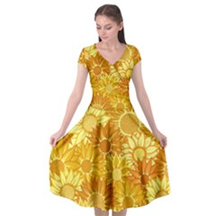 Flower Sunflower Floral Beauty Sexy Cap Sleeve Wrap Front Dress by Mariart