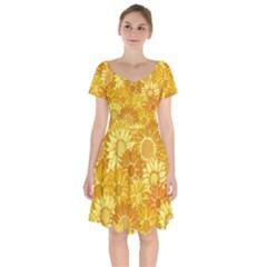 Flower Sunflower Floral Beauty Sexy Short Sleeve Bardot Dress