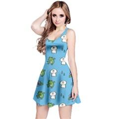 Frog Ghost Rain Flower Green Animals Reversible Sleeveless Dress