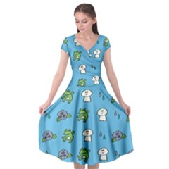 Frog Ghost Rain Flower Green Animals Cap Sleeve Wrap Front Dress by Mariart