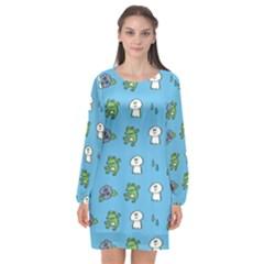 Frog Ghost Rain Flower Green Animals Long Sleeve Chiffon Shift Dress