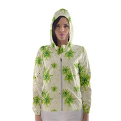 Leaf Green Star Beauty Hooded Wind Breaker (women)