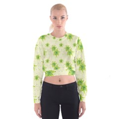 Leaf Green Star Beauty Cropped Sweatshirt by Mariart