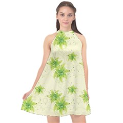 Leaf Green Star Beauty Halter Neckline Chiffon Dress