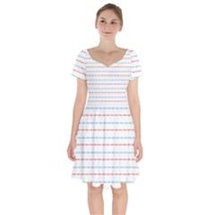 Line Polka Dots Blue Red Sexy Short Sleeve Bardot Dress