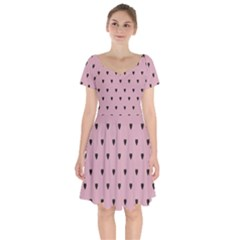 Love Black Pink Valentine Short Sleeve Bardot Dress by Mariart