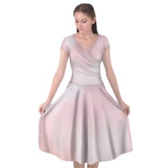 Love Heart Pink Valentine Flower Leaf Cap Sleeve Wrap Front Dress by Mariart