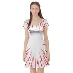 Line Red Sun Arrow Short Sleeve Skater Dress