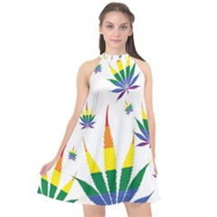Marijuana Cannabis Rainbow Love Green Yellow Red White Leaf Halter Neckline Chiffon Dress