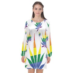 Marijuana Cannabis Rainbow Love Green Yellow Red White Leaf Long Sleeve Chiffon Shift Dress  by Mariart