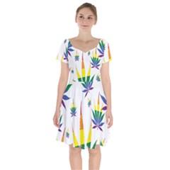 Marijuana Cannabis Rainbow Love Green Yellow Red White Leaf Short Sleeve Bardot Dress by Mariart