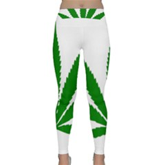 Marijuana Weed Drugs Neon Cannabis Green Leaf Sign Classic Yoga Leggings by Mariart