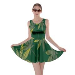 Marijuana Cannabis Rainbow Love Green Yellow Leaf Skater Dress by Mariart