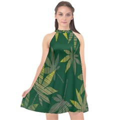 Marijuana Cannabis Rainbow Love Green Yellow Leaf Halter Neckline Chiffon Dress
