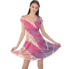 Marijuana Heart Cannabis Rainbow Pink Cloud Cap Sleeve Dress