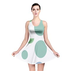 Polka Dots Blue Green White Reversible Skater Dress by Mariart