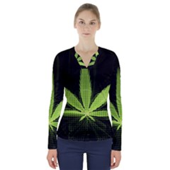 Marijuana Weed Drugs Neon Green Black Light V Neck Long Sleeve Top by Mariart