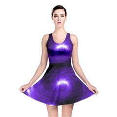 Purple Black Star Neon Light Space Galaxy Reversible Skater Dress by Mariart