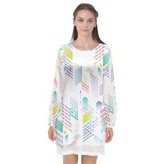 Layer Capital City Building Long Sleeve Chiffon Shift Dress  by Mariart