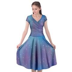 Rain Star Planet Galaxy Blue Sky Purple Blue Cap Sleeve Wrap Front Dress