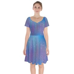 Rain Star Planet Galaxy Blue Sky Purple Blue Short Sleeve Bardot Dress by Mariart