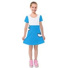 Ship Sea Beack Sun Blue Sky White Water Kids  Short Sleeve Velvet Dress by Mariart