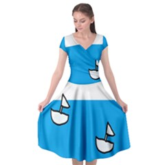 Ship Sea Beack Sun Blue Sky White Water Cap Sleeve Wrap Front Dress