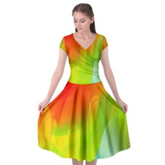 Red Yellow Green Blue Rainbow Color Mix Cap Sleeve Wrap Front Dress by Mariart