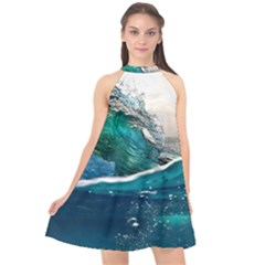 Sea Wave Waves Beach Water Blue Sky Halter Neckline Chiffon Dress