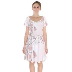 Simple Flower Polka Dots Pink Short Sleeve Bardot Dress