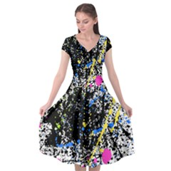 Spot Paint Pink Black Green Yellow Blue Sexy Cap Sleeve Wrap Front Dress